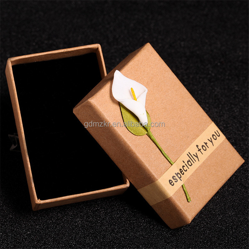 Earring Bracelet Ring Necklace Kraft Paper Gift Boxes Square Jewelry Sets Display Box Flower Case