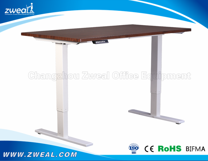 stand sit desk frame around motor columns adjustable height dining room table one-leg electric
