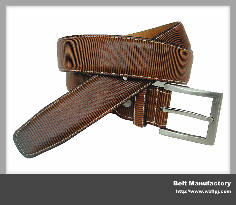 Brown stripe design men leather belts FU352