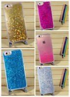 Transparent liquid glitter bling star quicksand 3D phone plastic back cover case for Apple iPhone 5/6/6 plus