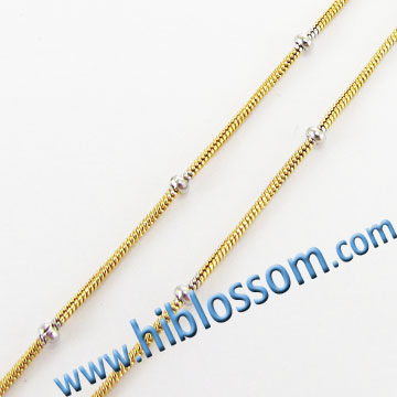 316 stainless steel new gold filled snake chain design with bead