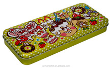 Custom hinged rectangular colorful pencil metal tin box