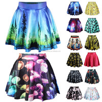 Womens Printed Galaxy Cartoon Adventure Time BMO Ball Skater Skirt Mini Dress