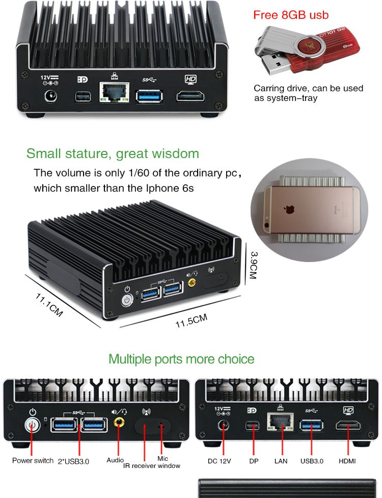 Barebone linux pc NUC-C2 fanless i3 i5 i7 small Intel nuc with 3*USB3.0