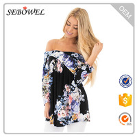 Top Quality Black Floral Print Strapless Crisscross Women Sexi Top