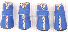 Wholes pet accessories dogs warm indoor shoes in blue and red color,very soft indoor dogs shoes