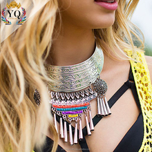 NLX-00192 Ethnic Flavor indian silver tribal necklace alloy necklace chunky statement necklace with colorful acrylic bead