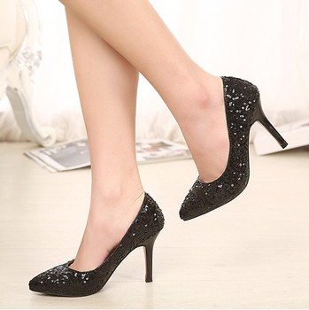 Sexy Fashion Women Heels Sequin Shoes Pointed Toe Party Pumps Black