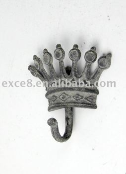 crown-shaped metal wall hook
