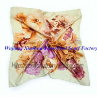 fashion printed square silk scarf/pinted silk scarf customed