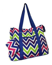 Chevron Prints Large Roomy Canvas Tote Bag W/ Attached Coin Purse