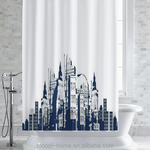 100% polyester shower curtain city scene set New including ceramic bathset and memory foam bath mat