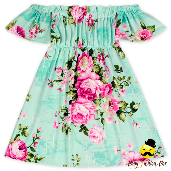 Aqua Pink Flower Off Shoulder Long One Piece Dress For Girl