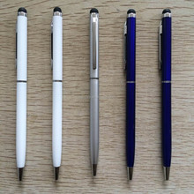 Thin twist metal ball pen with stylus touch screen
