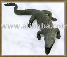 Hand Made Old Thai Solid Bronze Sculpture Crocodile Art Deco