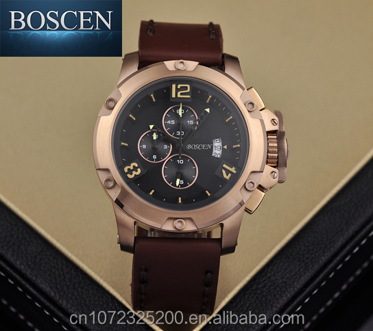 Waterproof Quality men BOSCEN factory direct prices 3ATM water resitant stainless steel man sport watch