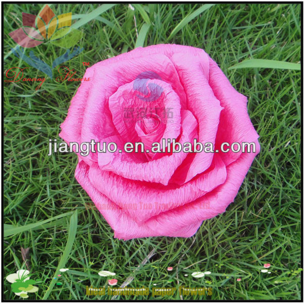 Natural Fresh Look Chinse Crepe Paper Stem Rose For Table Decoration or Wedding