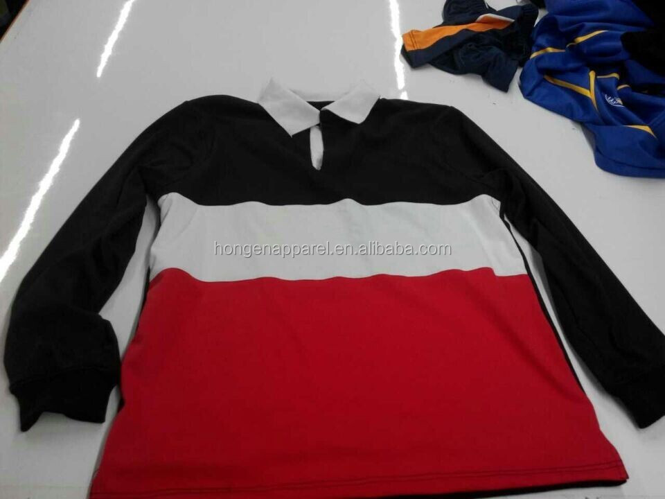 Hongen apparel embroider logo cotton rugby jersey