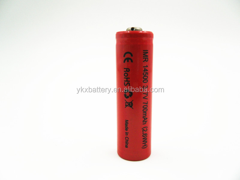 High Quality Cylindrical 14500 IMR 700mah 3.7v battery li-ion li ion lithium battery