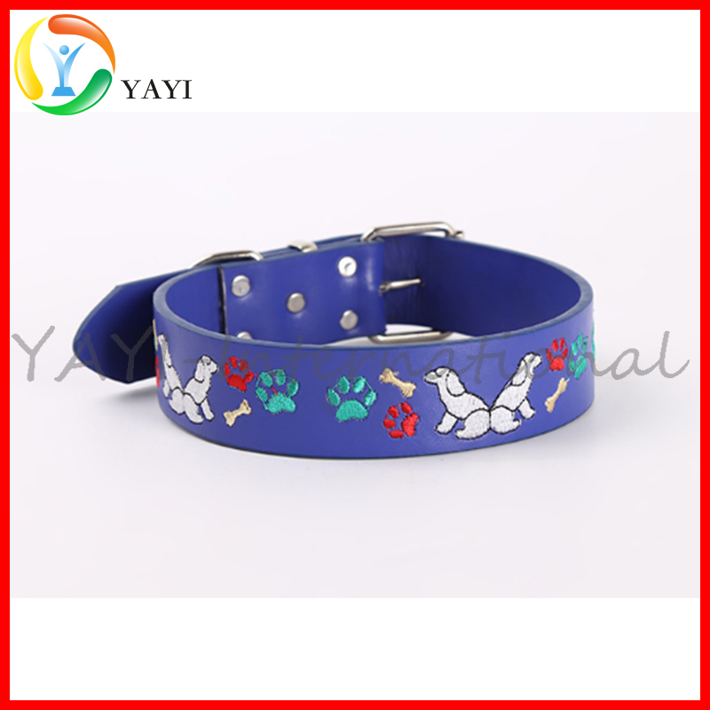 Custom Leather Embroidery Puppy Pattern Dog Pet Collar