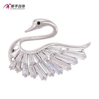 00008- xuping wedding bridal metal silver plated wholesale cheap swan shape brooches and pins