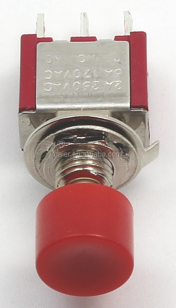 DS-613 2A 3 pins RED 12 Volt ON-(ON) push button switch