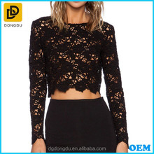 New Design Women Black Long Sleeve Embroidered Top