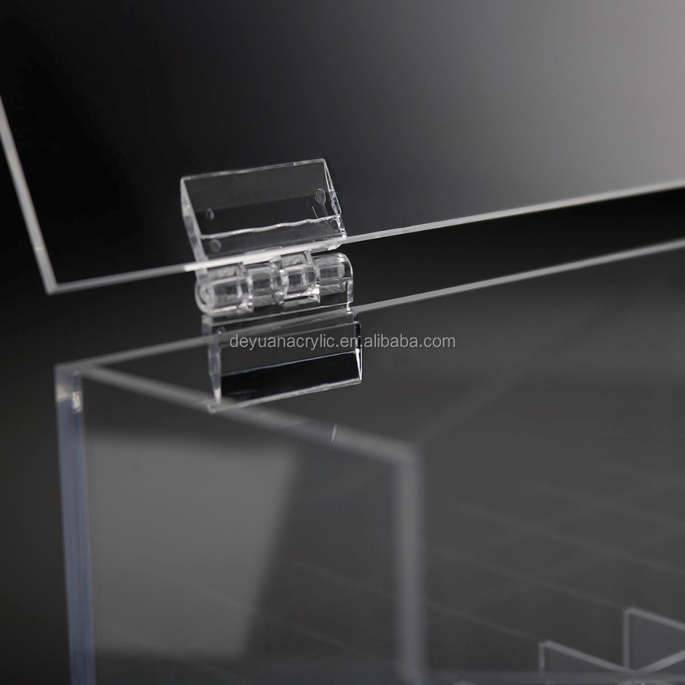 Crystal Transparent Hinged Lid Acrylic Lipstick Holder