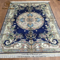 5x7 Persian french style handmade silk blue oriental carpets online