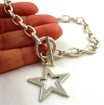Heavy Silver 925 Chain & Star Pendant Necklace