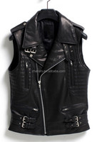New Collection High Quality PU Leather Motorcycle Vest For Men