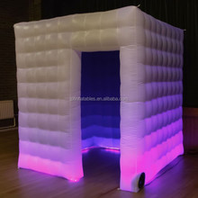 used inflatable photo booth with 2 doors for sale, inflatable mini cube tent with LED