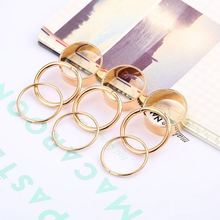 Cool Gold Tone Punk Wide Band 0 Ring Design For Girls Stack Plain Knuckle Midi Mid Rings