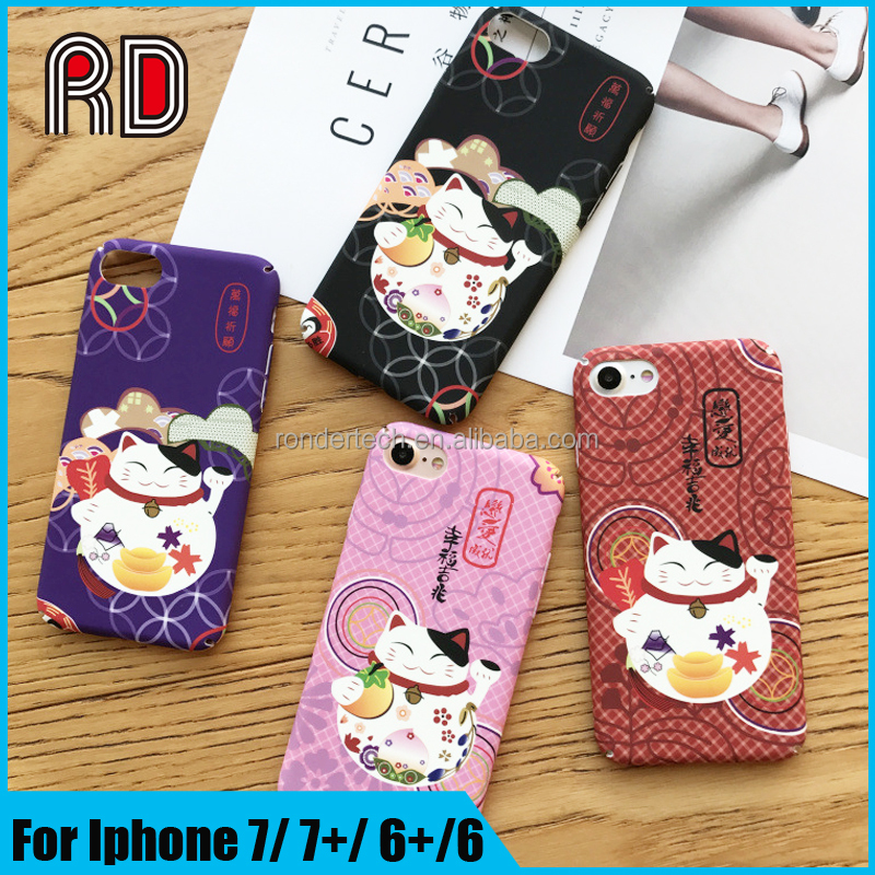 2017 New Year 3D Fortune Cat Phone Case For Iphone 7 PC Lucky Cat Full Cover Case for Ipone 6 6s 7 plus