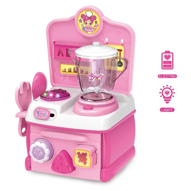 Funny children toy cooking table set plastic kitchen set
