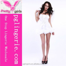 Tie up Front Adult Sexy sweet white black angel party Costume for women
