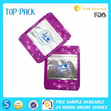 Resealable factory price front clear back foil zipper bag for candom with window