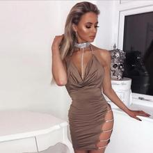 X80791B Sexy Brilliant necklace dress lady deep v diamond halter night club dress