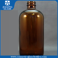 500ml Round Boston Glass Bottle 16oz Amber Glass Bottle With 28mm Screw Neck