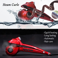 2016 hot selling Ceramic plate atomatic hair curling iron 360 degree rotating wire pro nano titanium hair curler