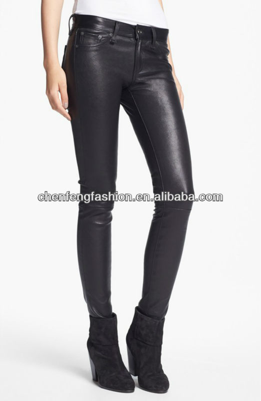 Five-pocket women black skinny pu coated jeans CCP041