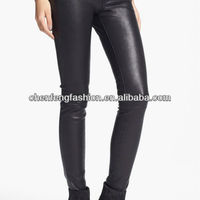 Five Pocket Women Black Skinny Pu