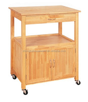 New Drawer/2 Doors Rubber Wooden Kitchen Trolley Design, Mobile Kitchen Cart