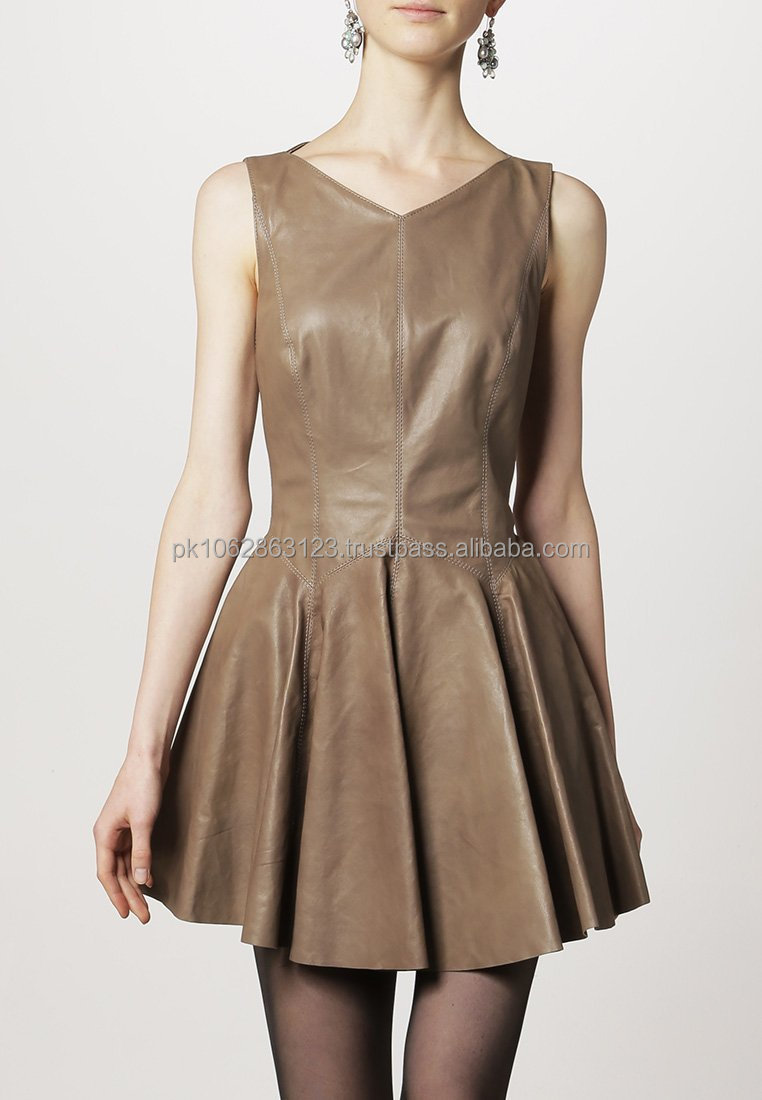 Sexy Leather Ladies Dress Fashion New Style skin color