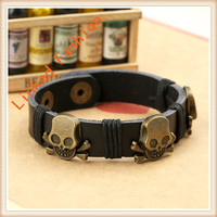 Wheat Crystal Glass Beads Handmade Leather Bead Bracelet