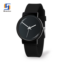 China Wholesale Custom Logo Round Shape Analog Display Stainless Steel Black Silicone Watch Mens