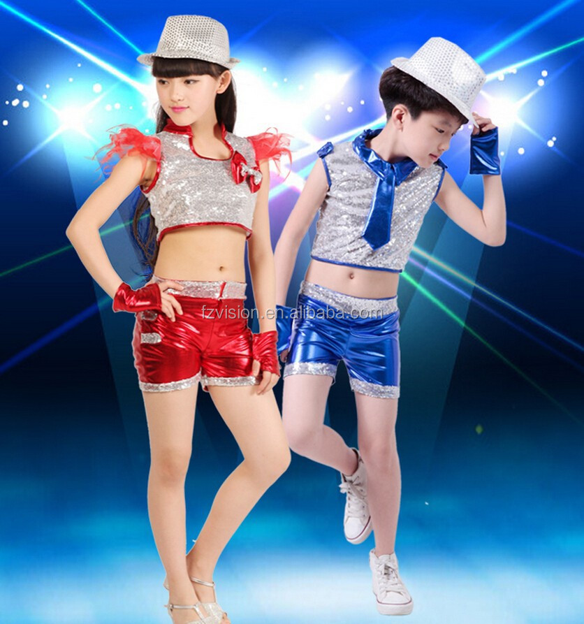 Factory Wholesale Ballroom dance wear for kids Jazz dancing costumes too and pants set