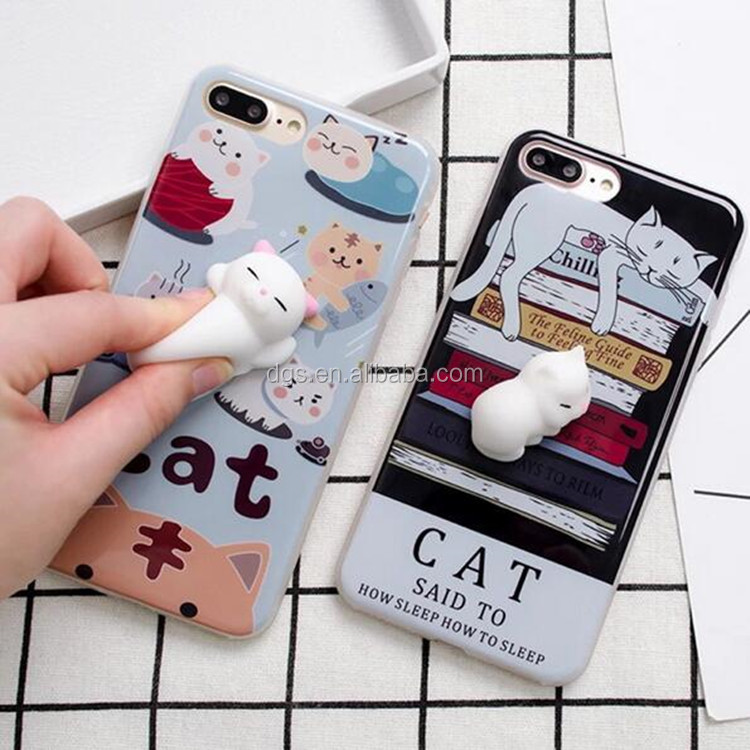 Wholesale Super Cute 3D Elastic Kneading Decompression Toy IMD Soft TPU Sleep Lazy Cat Phone Case For IPhone 6/6s,IPhone 7/7+