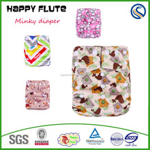 Happy Flute Double rows snaps breathable and Minky pocket washable Cloth Diaper in stock