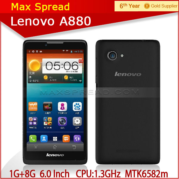 Instock 6 inch mtk6582m android4.2 lenovo a800 quad core phone